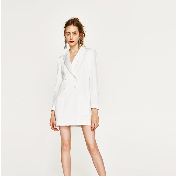 cheapest price lower price with great deals 2017 Zara Jackets & Coats | Nwt Long White Double Breasted Jacket Dress ...